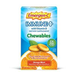 Box of Emergen-C  Immune+ Chewables Orange Blast