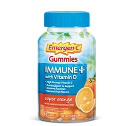 Bottle of Emergen-C  Immune+ Gummies Super Orange