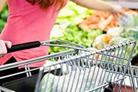 women with shopping cart