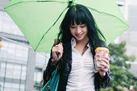 women and umbrella