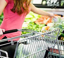 women with shopping trolley