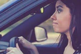 women commuting ina car