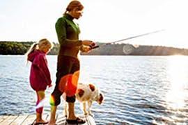 women and child fishing
