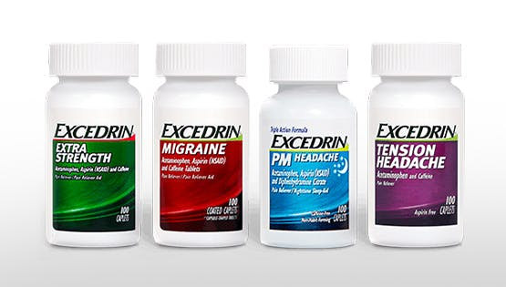 Excedrin product range pack shot