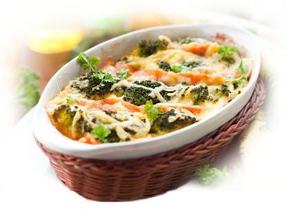 Запеканка из овощей с черникой и сыром Фета
