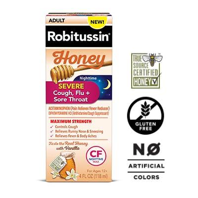 Maximum Strength Honey Severe Nighttime Cough, Flu + Sore Throat