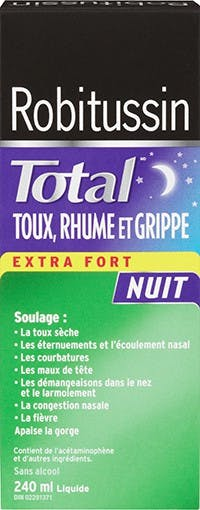 Robitussin Total Toux, Rhume Et Grippe Extra Fort Nuit