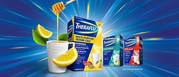 Theraflu Cold & Flu Products displayed in front of a blue & yellow background