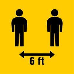 """Two stick figures against yellow background with a vector in between them saying """"6 feet"""""""
