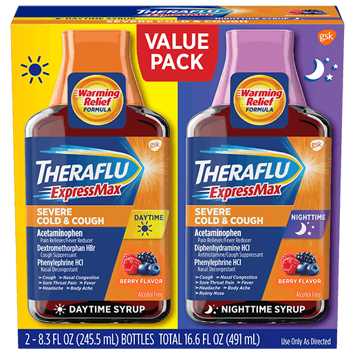 Box of Theraflu ExpressMax Day/Night Value Pack Syrup