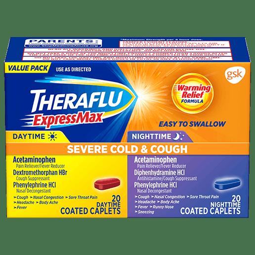 Box of Theraflu ExpressMax Severe Cold & Cough Value Pack Caplets