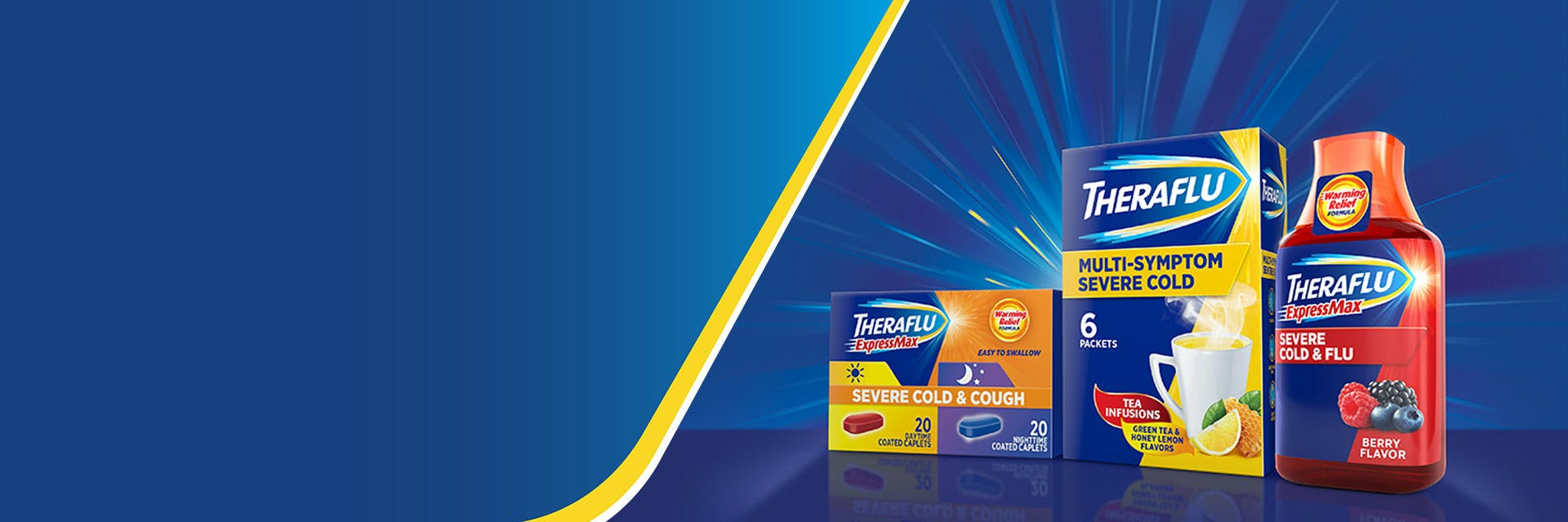 Theraflu products on a blue background