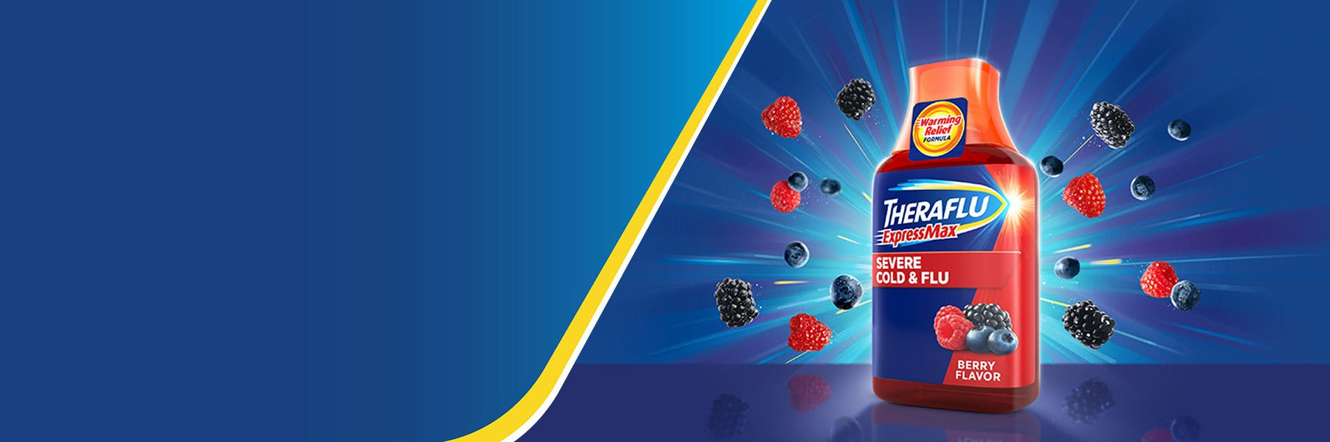 Bottle of Theraflu syrup and berries on blue background
