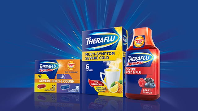 Theraflu products against a blue background