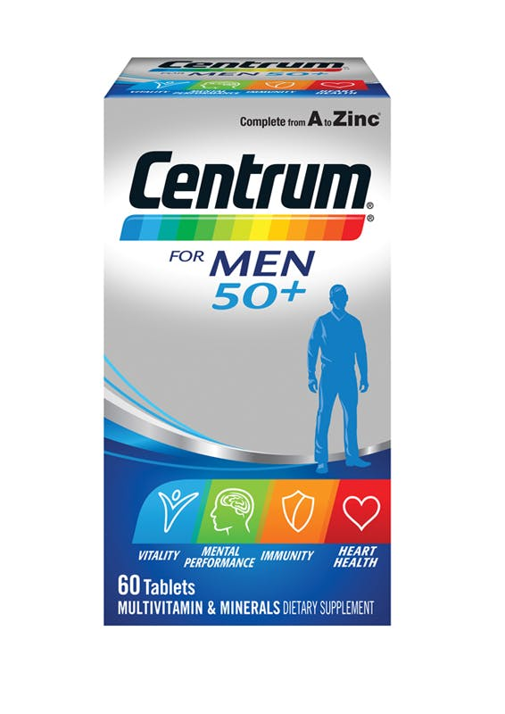 Box of Centrum for Men 50+ Multivitamins (60 tablets).
