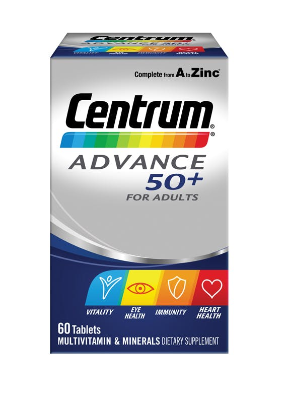Box of Centrum Advance 50+ Multivitamins (60 tablets).