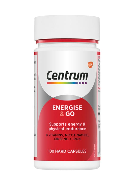 Bottle of Energise & Go from the Centrum Benefits Blend (50 capsules).