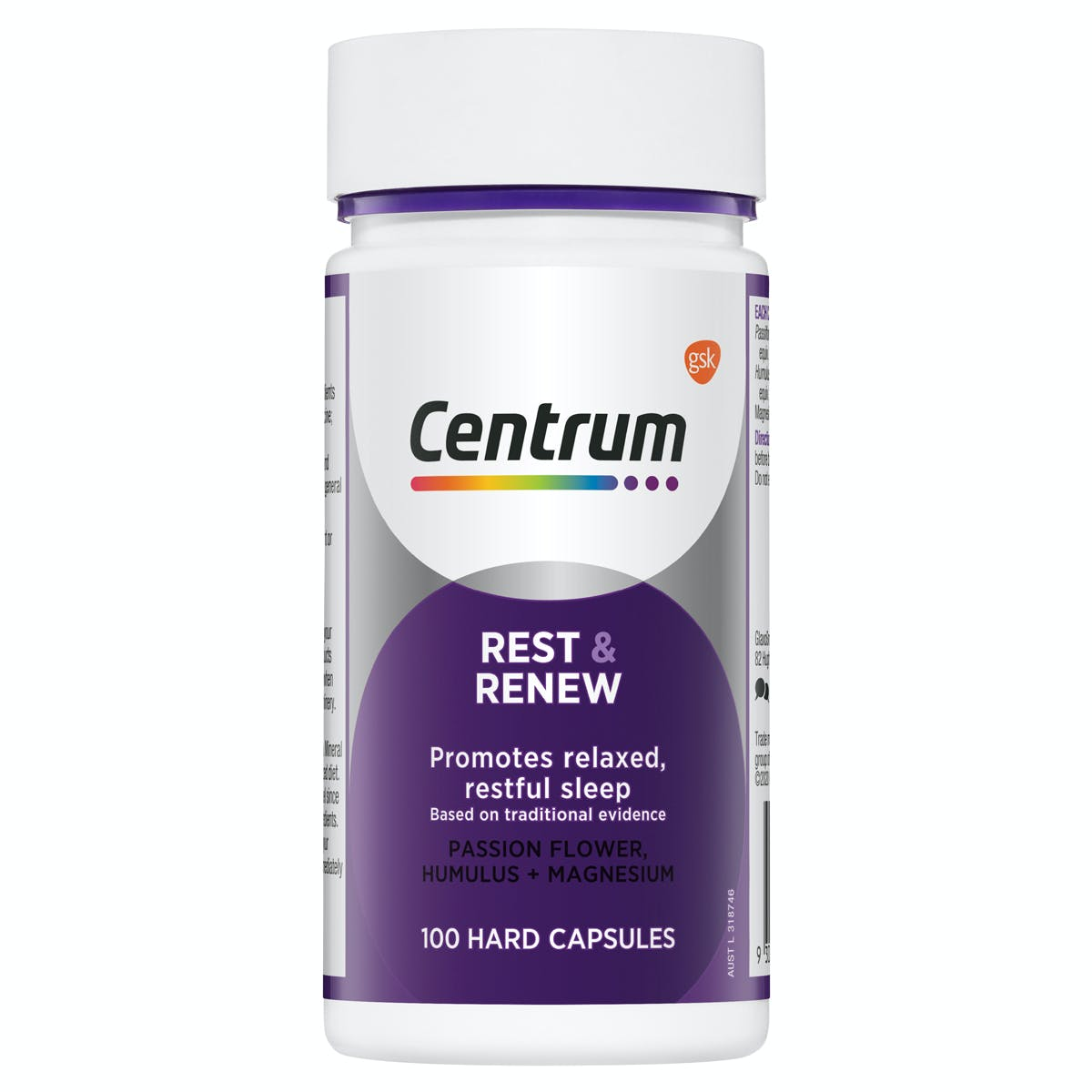 Bottle of Rest & Renew from the Centrum Benefits Blend (50 capsules).