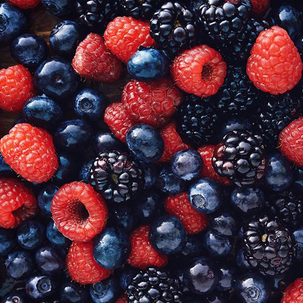 Close up of a variety of colourful berries.