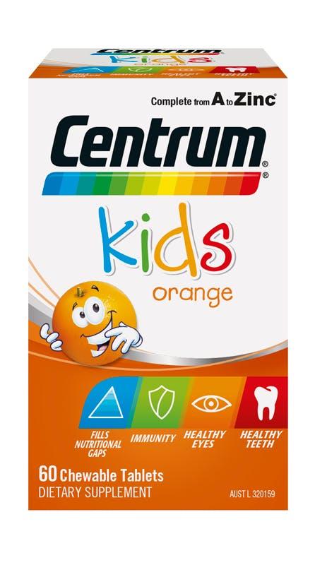 Box of Centrum Kids Orange Chewable Supplements (60 tablets).