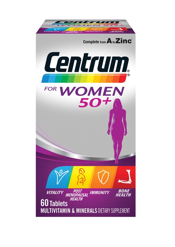 Box of Centrum for Women 50+ Multivitamins (60 tablets).