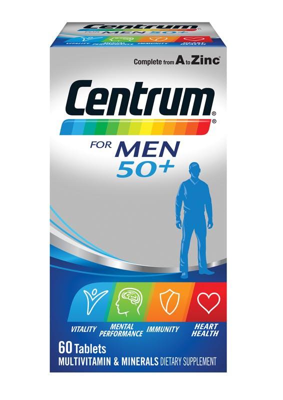 Box of Centrum for Men 50+ Multivitamins (60 tablets).