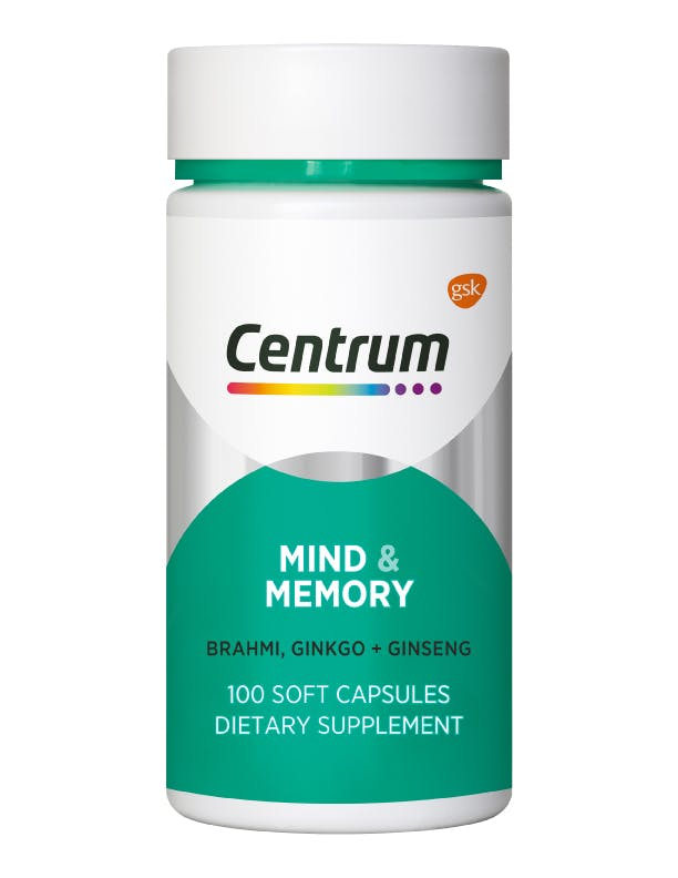 Bottle of Mind & Memory from the Centrum Benefits Blend (100 capsules).