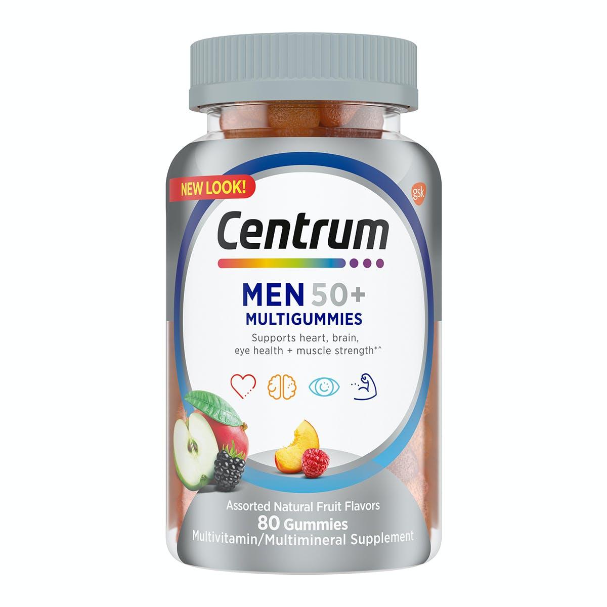 Bottle of centrum MultiGummies Men 50plus vitamins