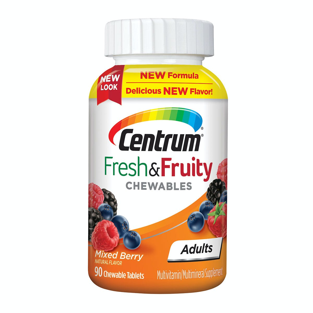 Bottle of Centrum Adults Fresh & Fruity Chewables