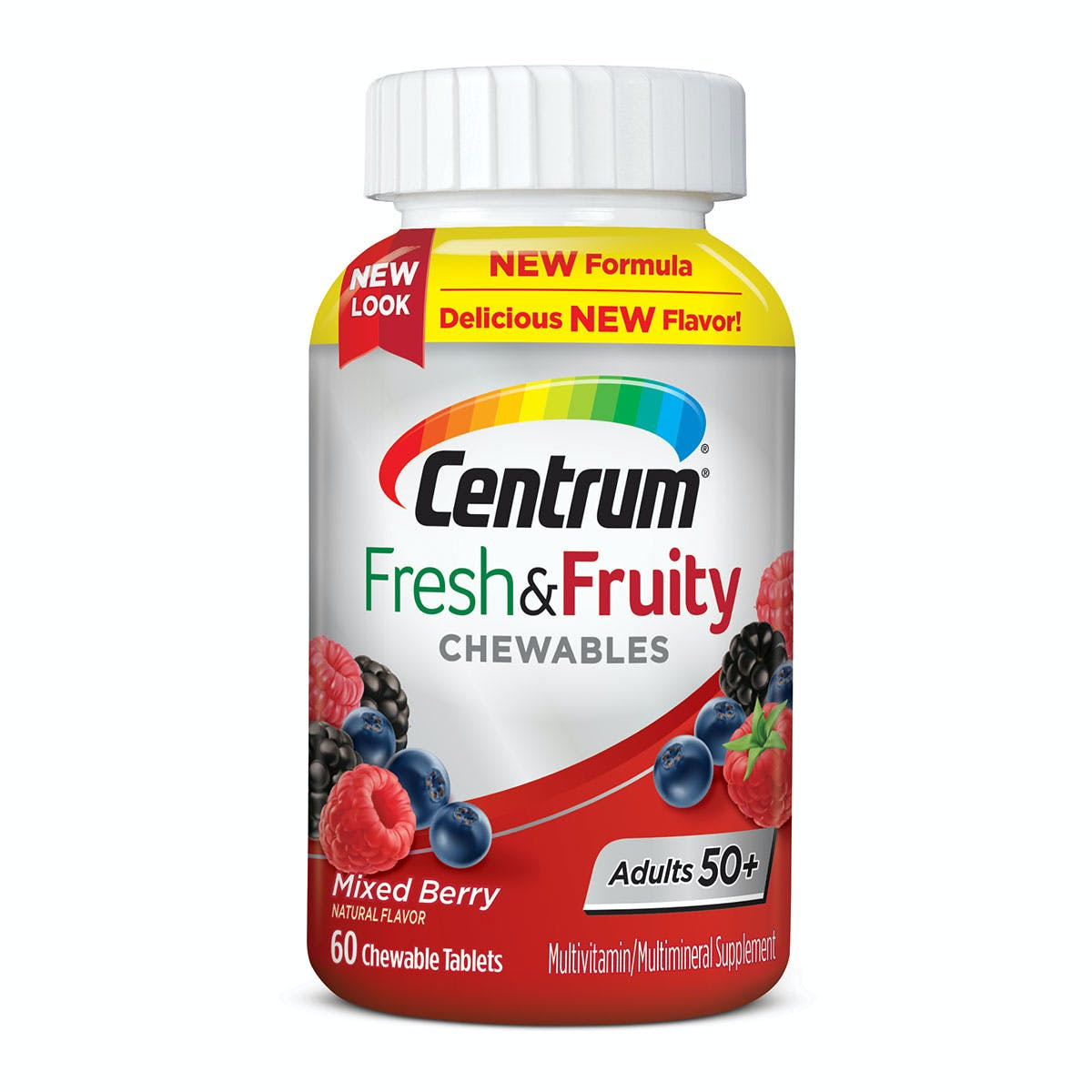 Bottle of Centrum Fresh & Fruity Chewables Adults 50+