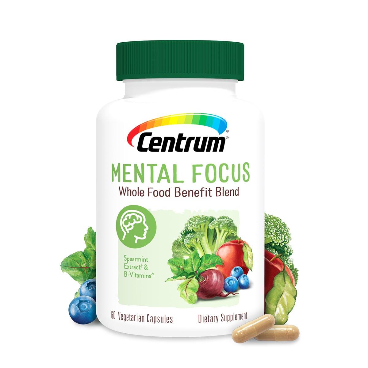 Bottle of Centrum Mental Focus Whole Food Blend Multivitamin