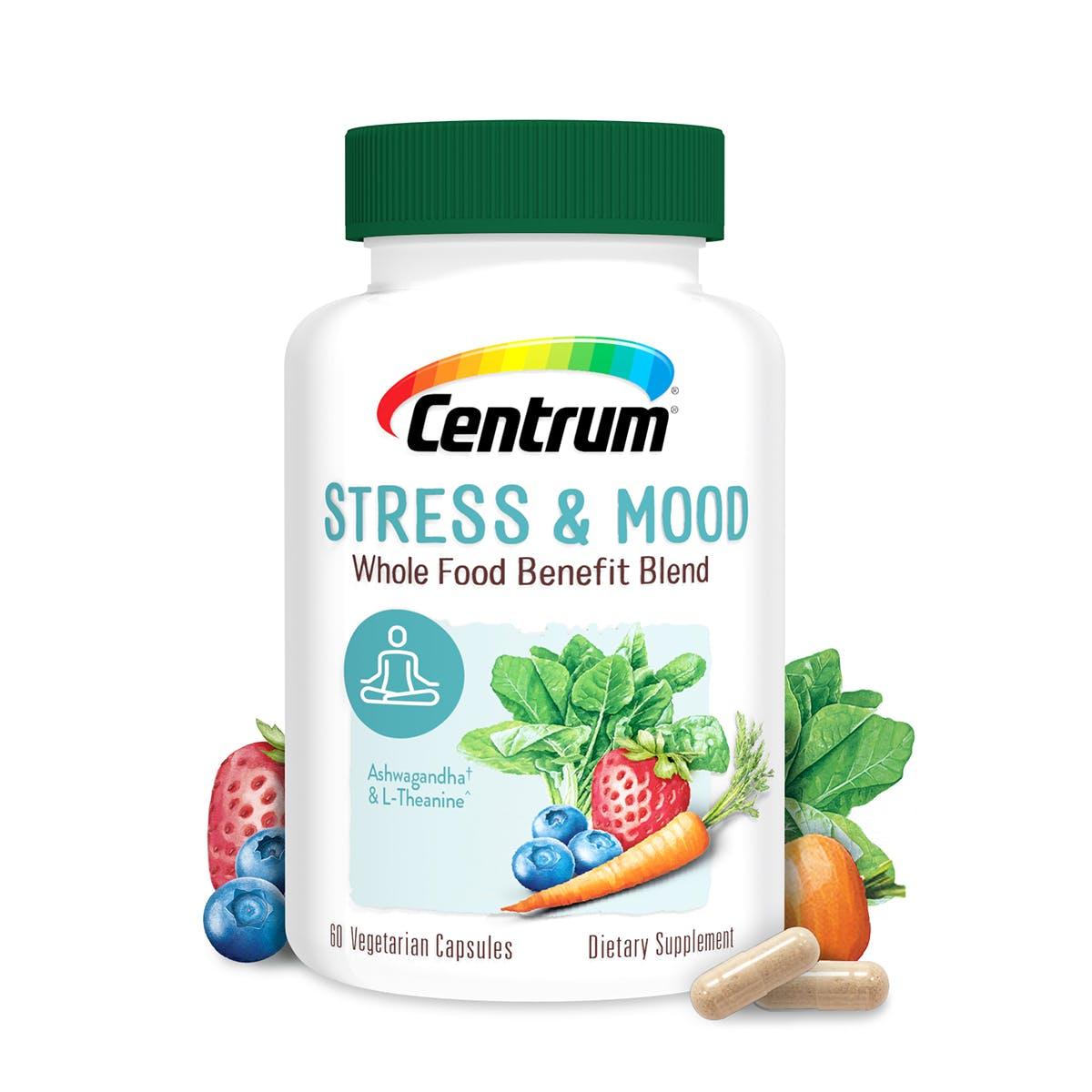 Bottle of Centrum Stress & Mood Whole Food Blend Multivitamin