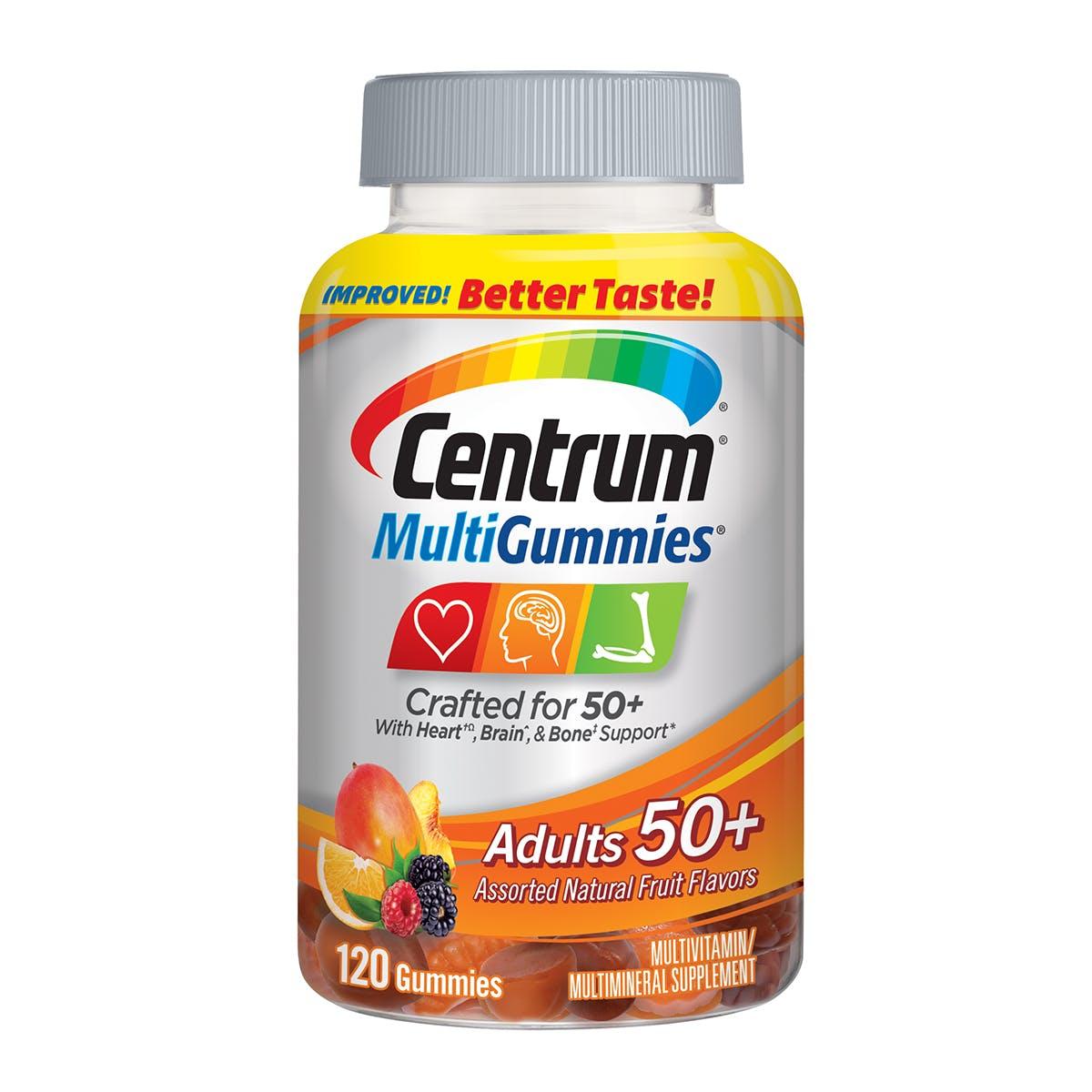 Bottle of MultiGummies Adult 50plus vitamins