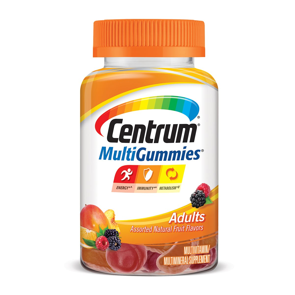 Bottle of centrum multigummies adult vitamins