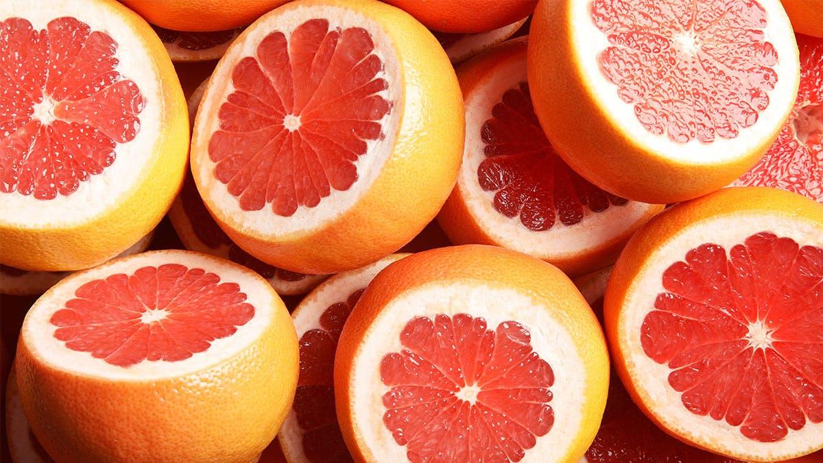freshly cut grapefruit