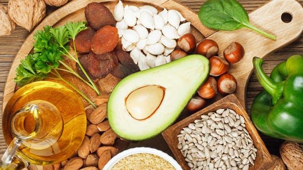 avocado, sunflower seeds, hazelnuts