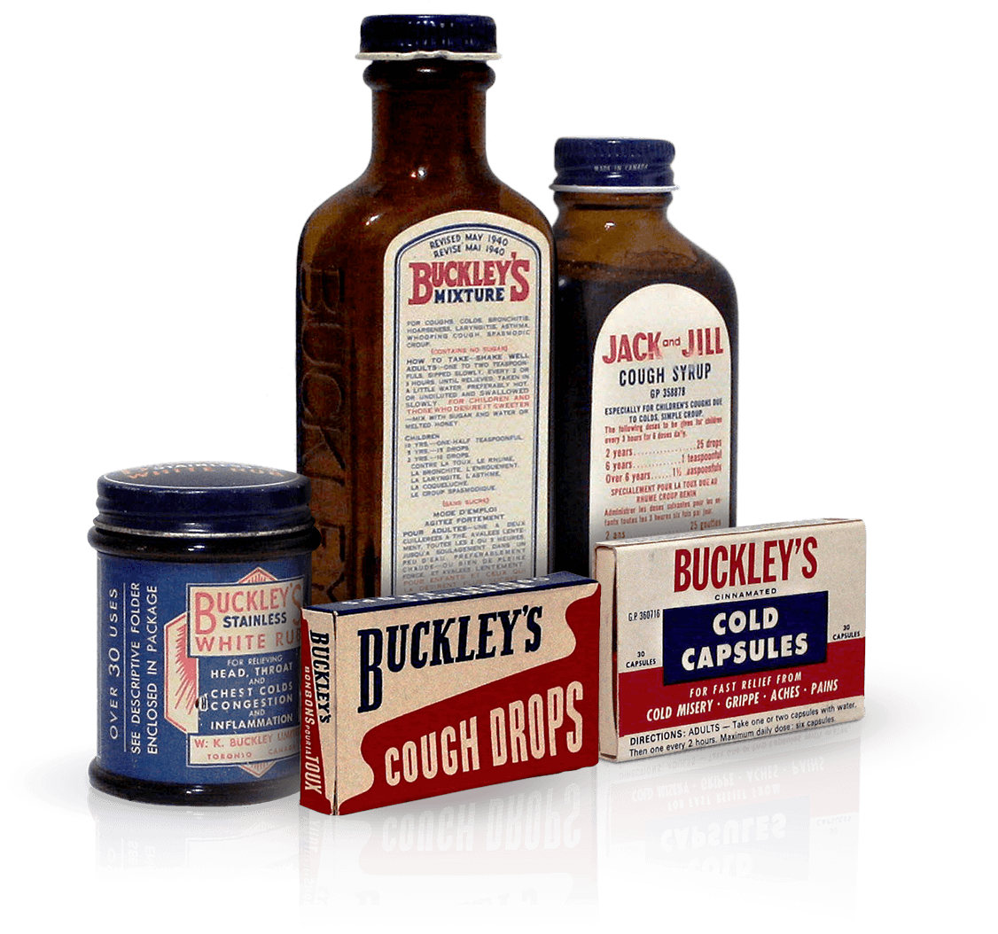 Four original bottles of Buckley's syrup