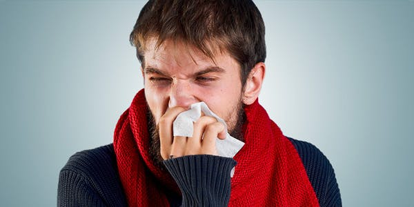 Man with congested nose