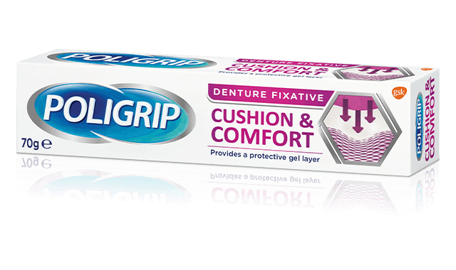 Poligrip cushion and comfort denture fixative pack shot