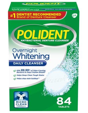 Polident overnight whitening daily cleanser pack shot