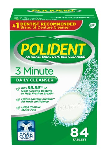 Polident 3 minute daily denture cleanser pack shot