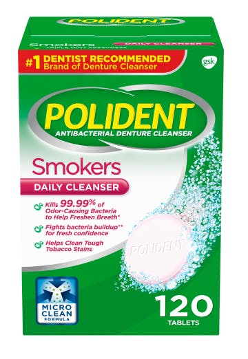Polident smokers daily denture cleanser pack shot