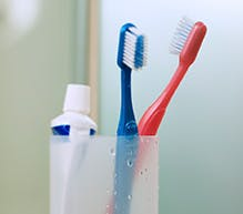 denture cleanser toothpaste and toothbrush in a holder
