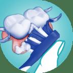 brushing partial dentures icon step