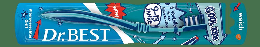 Packung der Dr.BEST Vibration Juniorzahn Zahnbürste für Kinder ab 6 Jahren