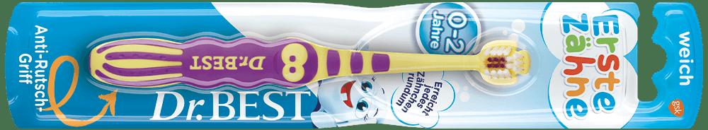 Packung der Dr.BEST Erste Zähne Zahnbürste für Kinder von 0 bis 2 Jahren
