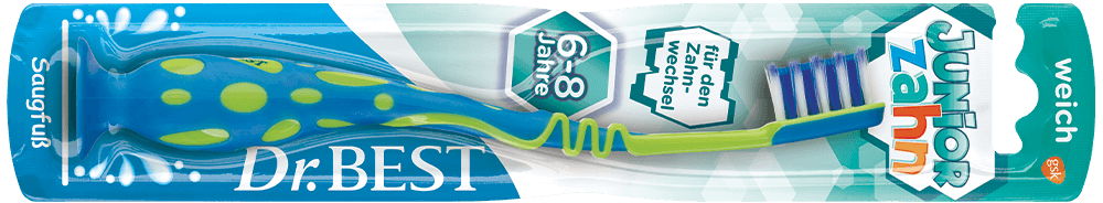 Packung der Dr.BEST Juniorzahn Zahnbürste für Kinder ab 6 Jahren