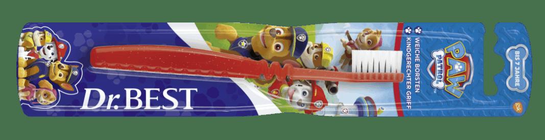 Packung der Dr.BEST Paw Patrol Zahnbürste für Kinder bis 7 Jahre