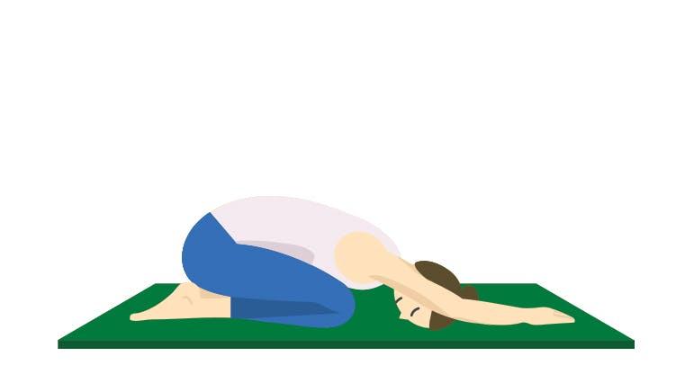 Child's Pose Yoga Illustration