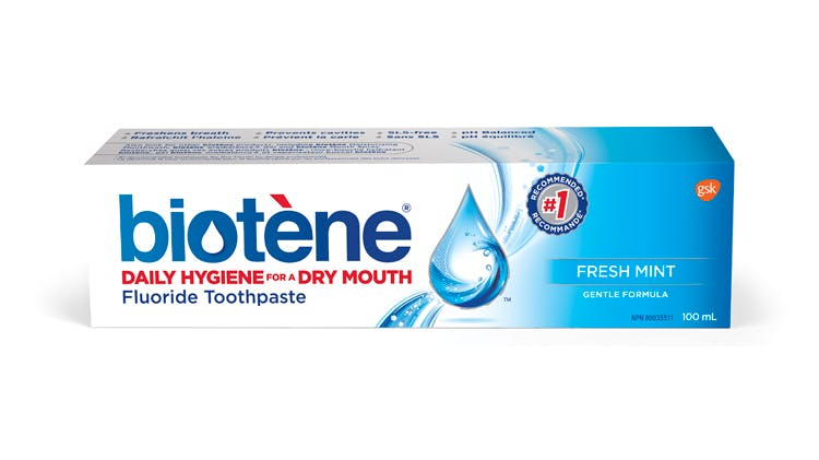 Box of Biotène toothpaste